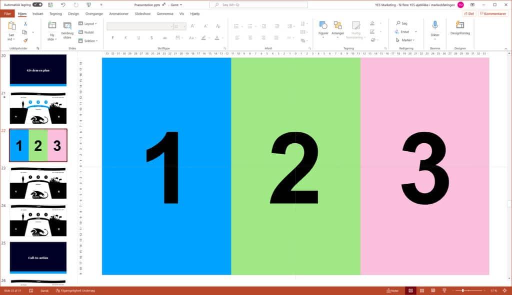 På samme måde kan planen præsenteres som et tredels slide med en farve til hver trin, som genbruges i gennemgangen af planen